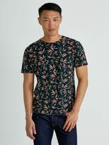 Frank and Oak Tropical Print T-Shirt in Dark Balsem