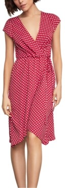 BCBGMAXAZRIA Polka-Dot Faux-Wrap Dress