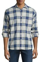 Billy Reid John Plaid Long-Sleeve Sport Shirt, Blue