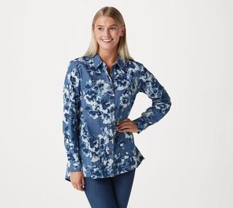 Isaac Mizrahi Live! TRUE DENIM Printed Floral Button Front Shirt