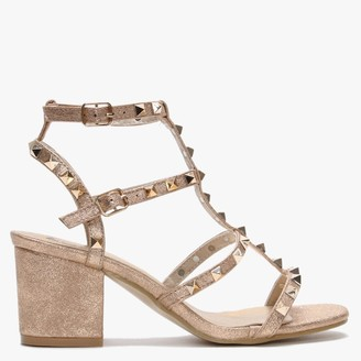 Moda In Pelle Mima Rose Gold Studded Block Heel Sandals