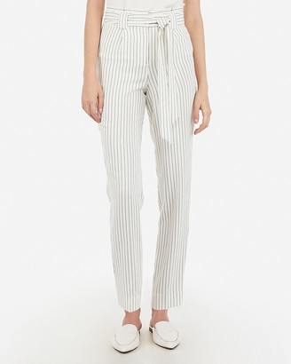 Express High Waisted Pinstripe Paperbag Ankle Pant