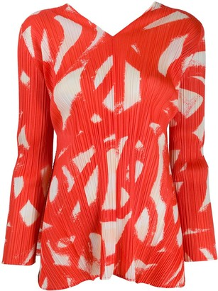 Pleats Please Issey Miyake Pleated Paint Stroke Print Top