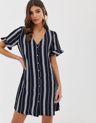 Vila stripe button through shift dress-Multi