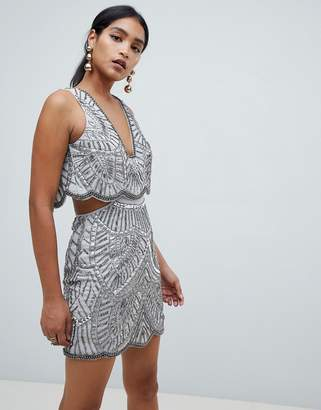 Asos Design DESIGN heavily embellished mini dress with cut out waist-Grey