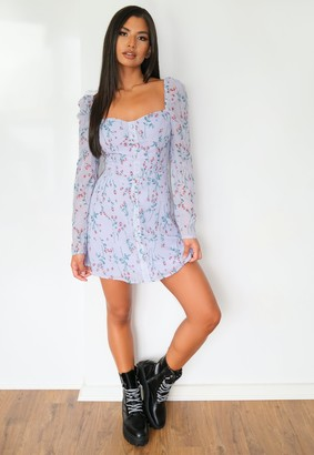 Missguided Lilac Floral Button Front Mini Dress