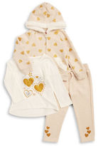 Nannette Girls 2-6x Faux Fur-Trimmed Hoodie, Tee and Sweatpants Set