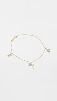 Adina 14k Garden Pave 3 Charm Bracelet