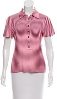 Tory Burch Striped Short Sleeve Polo
