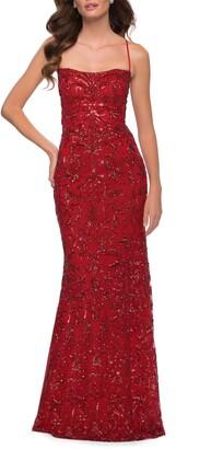 La Femme Sequin Jacquard Strappy Gown
