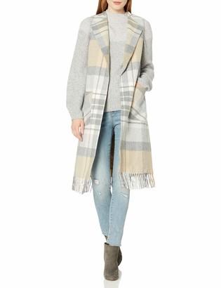 Helene Berman Women's Fringed Plaid Sleeveless Vest