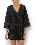 Privee SUITE Long-Sleeved Lace Short Kimono-Style Negligee
