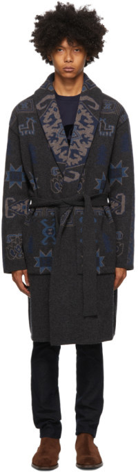 Etro Grey Knit Jacquard Coat