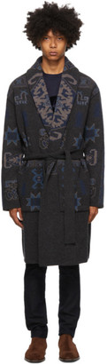 Etro Grey Knit Jacquard Coat