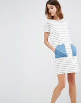 Vila Contrast Pocket Stripe T-Shirt Dress