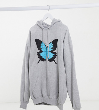 Rokoko Plus oversized hoodie with butterfly graphic