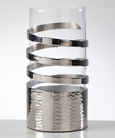 Torre & Tagus 9.5'' Silver Swirl Hurricane Candle Holder