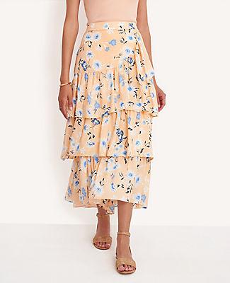 Ann Taylor Tall Floral Tiered Flounce Maxi Skirt