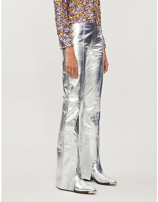 16Arlington Metallic straight-leg leather trousers