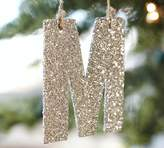Pottery Barn Silver German Glitter Letter Ornaments