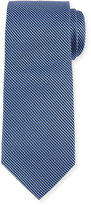 Neiman Marcus Striped Silk Tie, Black/Royal