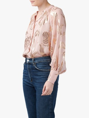 Rebecca Taylor Datura Silk Blend Metallic Floral Blouse, Pale Orchid