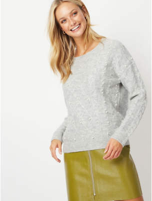 Bell George Grey Pearlescent Bead Embellished Cable Knit Jumper