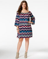 Love Squared Trendy Plus Size Chevron-Print Shift Dress