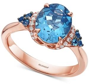 Effy London Blue Topaz (3-1/4 ct. t.w.) & Diamond (1/10 ct. t.w.) Statement Ring in 14k Rose Gold