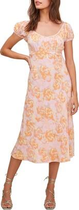 ASTR the Label Caprice Floral Print Midi Dress