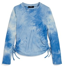 Aqua Girls' Tie Dyed Ribbed Ruched Side Top, Big Kid - 100% Exclusive