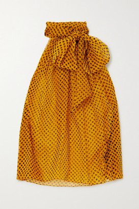 Saint Laurent Pussy-bow Polka-dot Silk-chiffon Blouse - Mustard