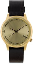Komono KOM-W2702 Women's Estelle Monte Carlo Black, Gold Leather Band with Gold Dial Watch