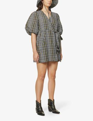 Ganni Seersucker-check wrap-over cotton-blend mini dress