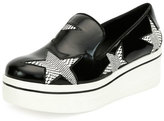 Stella McCartney Faux-Patent Star Platform Sneaker, Black/White