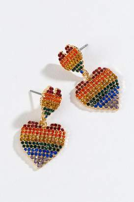 francesca's Leia Rainbow Pave Heart Earrings - Multi