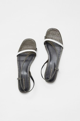 French Connection Croc Leather Wrap Around Flat Sandal