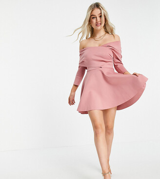 ASOS DESIGN Petite bare shoulder mini skater dress in dusty pink