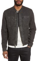 John Varvatos Men's Band Collar Linen Jacket