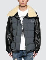 Undercover Puffer Jacket with Shearling Collar and Leather Sleeve