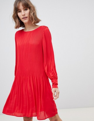 Selected long sleeve plisse smock mini dress in red