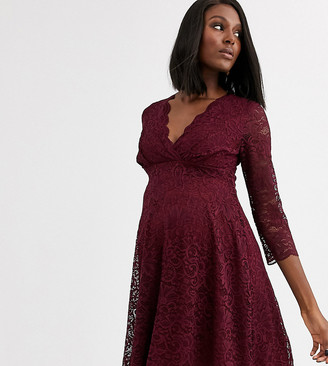Blume Maternity exclusive lace skater dress in wine
