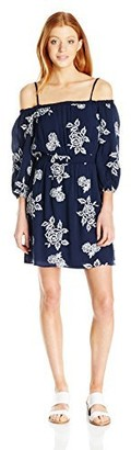 My Michelle Sequin Hearts Junior's Floral Lon G Sleeve Cold Shoulder Dress