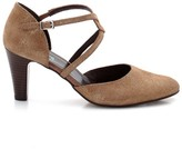 Anne Weyburn Suede Heeled Shoes With Crossover Straps