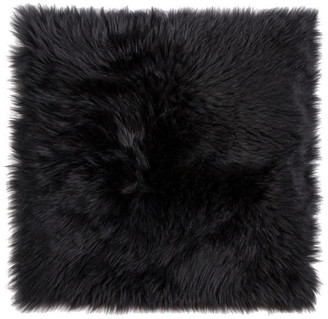 """Natural 100% New Zealand Sheepskin Chair Seat Cover, 17""""x17"""", Black"""