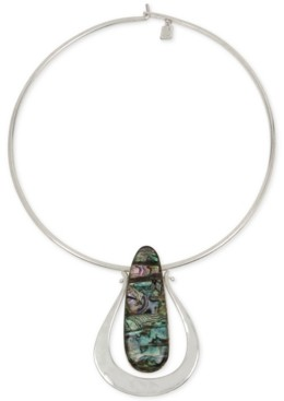 """Robert Lee Morris Soho Silver-Tone Oval Stone 16-1/2"""" Wire Collar Pendant Necklace"""
