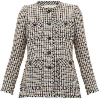 Rebecca Taylor Houndstooth-tweed Cotton-blend Jacket - Womens - Pink Multi
