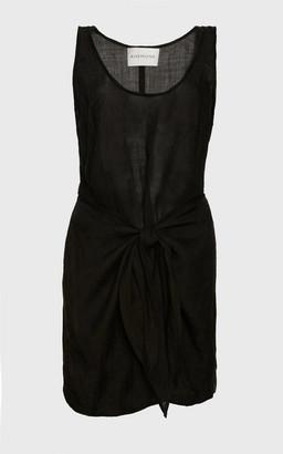 Anémone The Dk Ramie Wrap Mini Dress - Black
