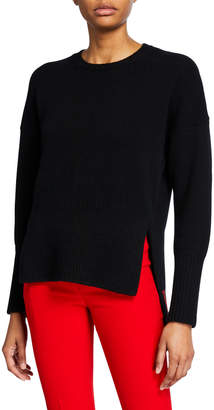Valentino Wool-Cashmere High-Low Sweater with VLTN Inset