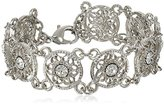 "1928 Jewelry ""Bridal Crystal"" Silver-Tone Crystal Link Bracelet, 7"""